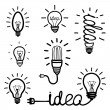 Hand drawn light bulb icons — Stock Vector #65318401