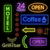 Neon glow signs — Stock Vector