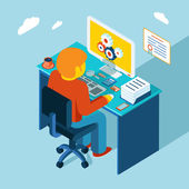 Workplace. Working at computer. Flat 3d isometric design — Stockvektor