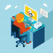 Workplace. Working at computer. Flat 3d isometric design — Vector de stock