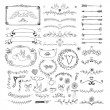 Hand drawn floral page elements. Swirls, ribbons, frames, arrows, dividers, banners and curls — Stock Vector #65847187