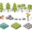 Flat elements of nature. Trees, bushes, rocks, water, grass and mushrooms — Stock Vector #65847303