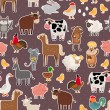 Farm animal and pets stickers pattern — Stock Vector #65847377