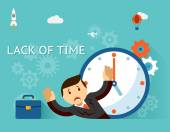 Timemanagement. Lack of time concept. Businessman and clock — Stock vektor