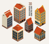 Pretty houses, architecture isometric 3d vector buildings — Stock Vector
