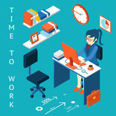 Time to work concept. Business corporate process infographic element — Stockvector