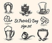 Hand drawn St Patricks Day signs — 图库矢量图片