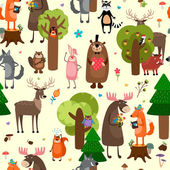Happy forest animals seamless pattern background — Stock Vector