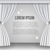 Open white curtain — Stock Vector