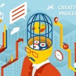 Creative process. Gears in human head — Stock Vector #66857879