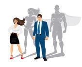 Podnikatel a podnikání žena úřad superhrdinové — Stock vektor