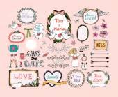 Hand drawn design elements for wedding invitations decor — Vetor de Stock