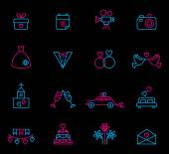 Line wedding icons — Stock Vector