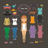Dress up paper doll with big head — Stock Vector