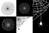 Vector cobweb or spider web silhouettes set — ストックベクタ