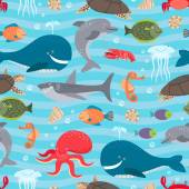 Sea creatures seamless background — Stock vektor