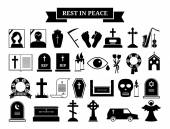Vector funeral icons — Vetor de Stock