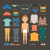 Paper doll man template — Stock Vector