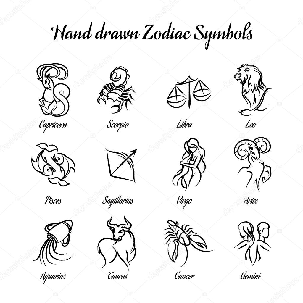 Set Of Hand Drawn Astrological Zodiac Symbols Or Horoscope Signs Lion