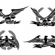 Eagle heraldic labels with laurel wreaths, shields and ribbons — Stock Vector #67676899