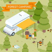 Family isometric forest camping — Stockvector
