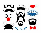 False mustache, funny glasses and other items for party or masquerade — Stockvector