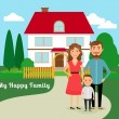 Happy family near house — Stock Vector #68370805