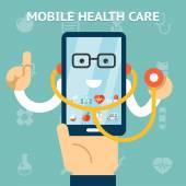 Mobile health care and medicine concept — Stock Vector