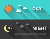 Dag och natt banners — Stockvektor