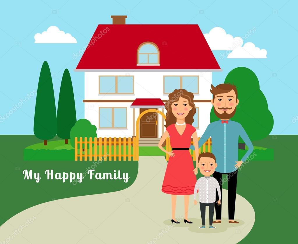 Happy family near house — Stock Vector © MSSA #68370805