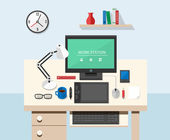 Flat style office workspace — Stock Vector