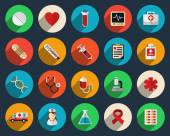 Health care and medicine icons in flat style — Stock Vector
