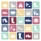 Shoes and bags icons in flat style — Stock Vector