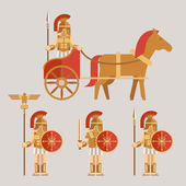 Ancient wariors icons with sword or spear and shield on chariot — Stock Vector