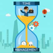 Time management. Businessman sinking in hourglass — Stock Vector