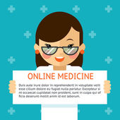 Online medicine banner. Woman doctor shows text sign — Stock Vector