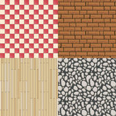Wooden floor texture, stone pattern and tiles background set — Stock Vector