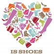 Постер, плакат: All we need is shoes Womens shoes sign in shape of heart