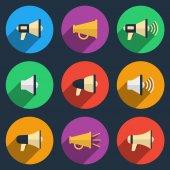 Megaphone icons set — Stock Vector