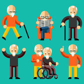 Older people. Elderly activity, elderly care, comfort and communication in old age — Stock Vector