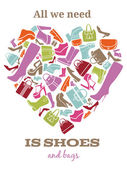 All we need is shoes. Womens shoes sign in shape of heart — 图库矢量图片