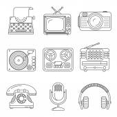Retro media devices Icons in thin line style — Stock Vector
