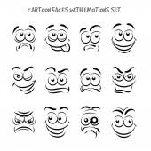 Cartoon faces with emotions set — Stock Vector