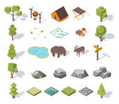Isometric 3d forest camping elements for landscape design — Stock Vector