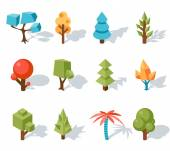 Tree low poly icons, vector isometric 3D — Stock Vector