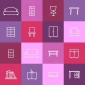 Home interior icons — Stock Vector
