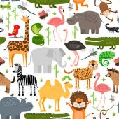 Jungle animals seamless pattern — Stock Vector