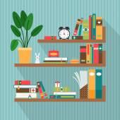 Vector books on bookshelves — Stock Vector