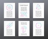 Carte con forme geometriche e testo per inviti o banner — Vettoriale Stock