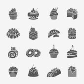 Cakes icons set — Stock Vector